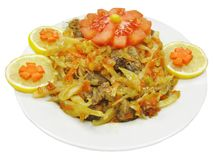 Cooked meat with cabbage Royalty Free Stock Image