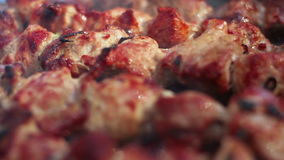 Cooked meat. Closeup. Grilled meat. Macro. Cooking shish kebab for picnic stock footage