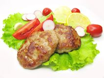 Cooked Meat Cutlets With Vegetables Stock Photography