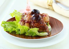 Cooked meat duck with berry sauce and salad Royalty Free Stock Images