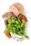 Cooked meat and sausages isolated Royalty Free Stock Images