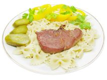 Cooked meat with spaghetti Stock Photo
