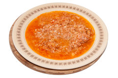 Cooked minced meat and rice served in the plate Stock Images