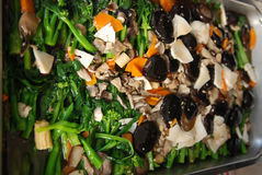 Cooked mushroom and vegetables. Inside the pan royalty free stock photos