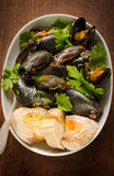 Cooked mussel with herbs Royalty Free Stock Images