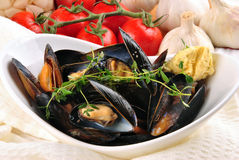 Cooked mussels with garlic butter sauce Stock Photo