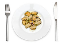 Cooked mussels on a plate Royalty Free Stock Photography
