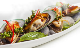 Cooked mussels stock photography