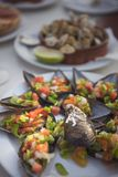 Cooked mussels with vegetables royalty free stock photography