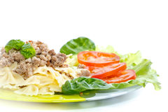 Cooked noodles with boiled meat Stock Photo