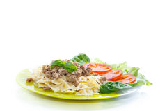 Cooked noodles with boiled meat Stock Image