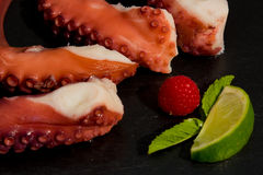 Cooked Octopus Plate with lime in black stone background Stock Photos