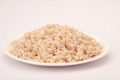 Cooked organic red rice in plate Stock Images