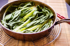 Cooked pak choy. Steamed pak choy in a pan Royalty Free Stock Image