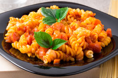 Cooked pasta girandole close-up Stock Images