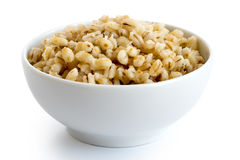 Cooked pearl barley in white ceramic bowl. Stock Photo