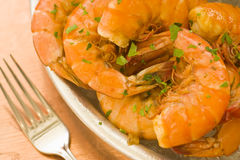 cooked peel and eat shrimp Royalty Free Stock Photos