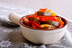 Cooked peppers and zucchini Stock Image