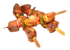 Cooked Pork Kebabs royalty free stock image