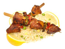 Cooked Pork Kebabs With Rice stock image