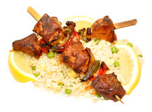 Cooked Pork Kebabs With Rice royalty free stock photos