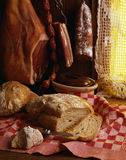 Cooked pork meats and bread Royalty Free Stock Images