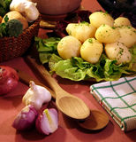Cooked potato. With salt, radish - chicory, onion and persley for smell and decoration. This is traditional old dinner Stock Image