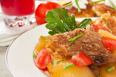 Cooked potato and meat Royalty Free Stock Photos