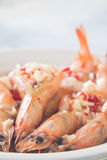 Cooked prawn with the chili and garlic on top. Cooked prawn with the chopped chili and garlic on top Stock Photography