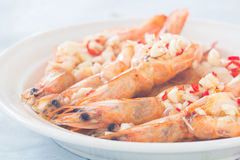 Cooked prawn with the chili and garlic on top. Cooked prawn with the chopped chili and garlic on top Stock Image