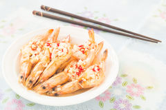 Cooked prawn with the chili and garlic on top Royalty Free Stock Photo