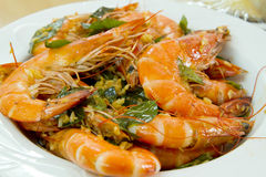 Cooked Prawns with Garlic and Curry Leaves Dish Royalty Free Stock Image