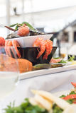 Cooked prawns and other seafood Royalty Free Stock Photo