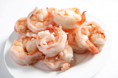 Cooked prawns on a plate Royalty Free Stock Photos