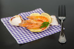 Cooked prawns in a shell Stock Photo