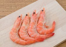 Cooked Prawns or Tiger Shrimps on Cutting Board. Cuisine and Food, Cooked Prawns or Tiger Shrimps on Wooden Cutting Board Stock Images