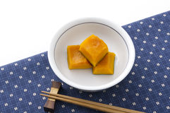 Cooked pumpkin. Traditional japanese dish, cooked pumpkin Royalty Free Stock Image