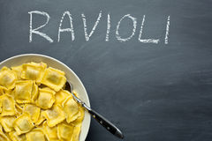 Cooked ravioli pasta Stock Photos