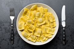 Cooked ravioli on plate Royalty Free Stock Photo