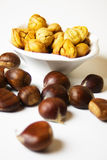 Cooked and raw chestnut Stock Photography