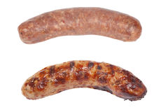 Cooked and raw sausage Stock Photography
