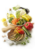Cooked and raw vegetables Royalty Free Stock Photo