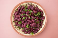 Cooked red beans plate on pink background, isolated. Healthy food. Cooked red beans plate on pink background, isolated stock photos