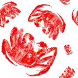 Cooked red king crab. Watercolor illustration isolated on white background.Seamless pattern royalty free stock images