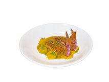 Cooked red mullet with garnish Stock Photos