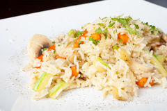 Cooked Rice. With Vegetables and Mushrooms Royalty Free Stock Image