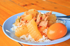 Cooked rice. With curry pig and egg on dish royalty free stock images