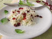 Cooked rice with barberries. On plate Stock Photos