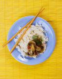 Cooked rice with mushrooms Stock Photo