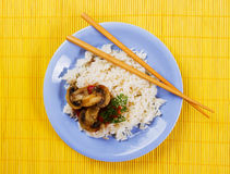 Cooked rice with mushrooms Stock Photos